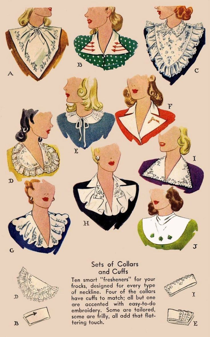 Collar and cuff patterns | Vintage1940s #vintage #1940s