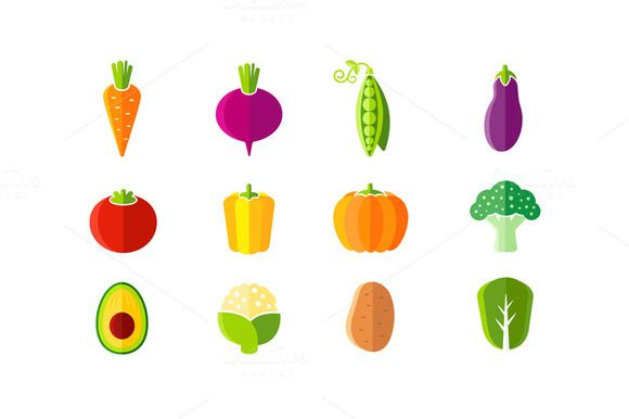 Fresh vegetables flat style set by Teneresa on Creative Market