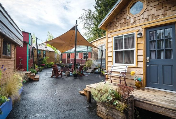 Try a 120-square-foot home on for size at the tiny-house hotel in Portland, Ore.