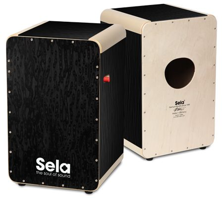 The cajon for demanding musicians: Sela Wave Pro Black Pearl.