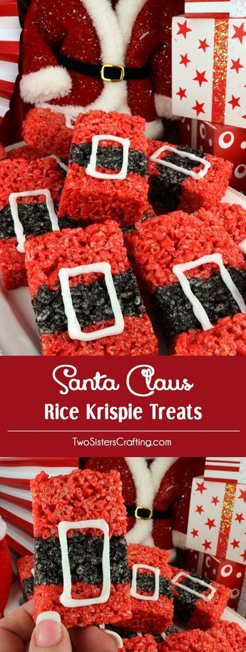Santa Claus Rice Krispie Treats - a festive and fun Holiday dessert that will wow both your family and your Christmas Party guests. Easy to make, these super cute Christmas Treats will definitely stand out on a Holiday Dessert Table. They would be a great Christmas party food. Pin this delicious Christmas snack for later and follow us for more great Christmas Food Ideas. #ChristmasTreats #ChristmasDesserts #SantaClaus #RiceKrispieTreats