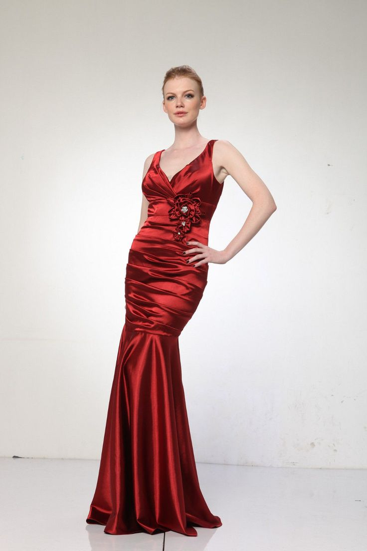 Long satin formal bridesmaid ruched plus size cheap prom dress