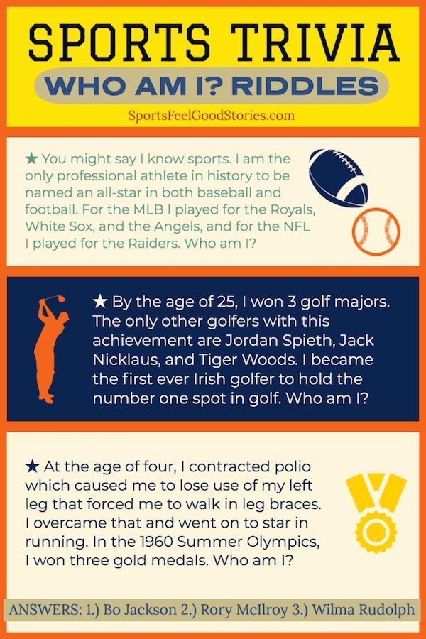 Sports Trivia Questions Quiz Who Am I Riddles Sports Feel Good In 2020 Sports Trivia Questions Trivia Trivia Questions