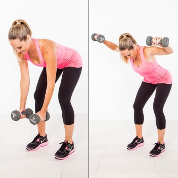 Shoulders and Mid Back (Rear Deltoid) - Shape Magazine | Best Exercise: Bent Over Raise Holding dumbbells in each hand, bend forward at the hips, keeping your back flat and knees slightly bent. Let your arms hang straight down in front of you, slightly bent, and raise the dumbbells away from your body until they are parallel with your back. Pause for a second then lower them back down w/ control, being careful not to swing your arms. Do 3 sets of 15 reps each.