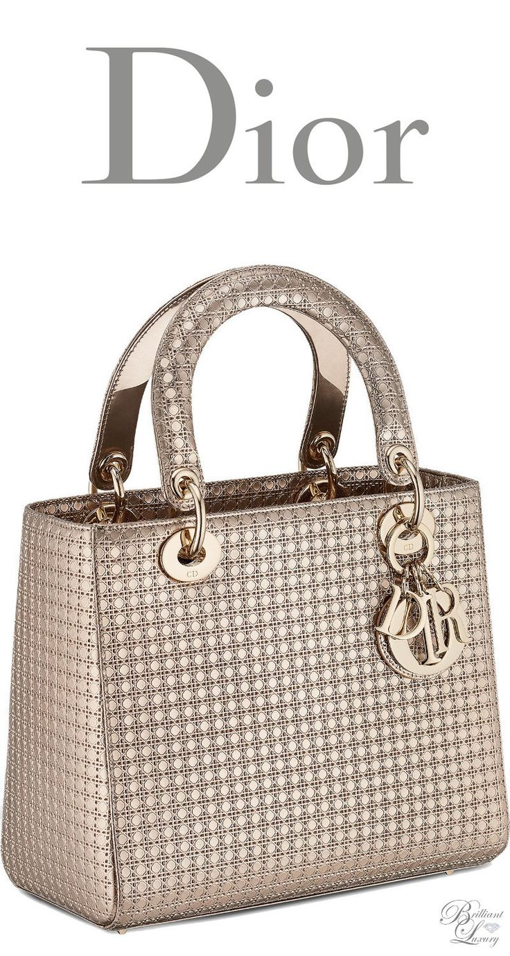 Brilliant Luxury * Dior Cruise 2016 ~ Lady Dior bag in champagne metallic calfskin with micro-cannage motif