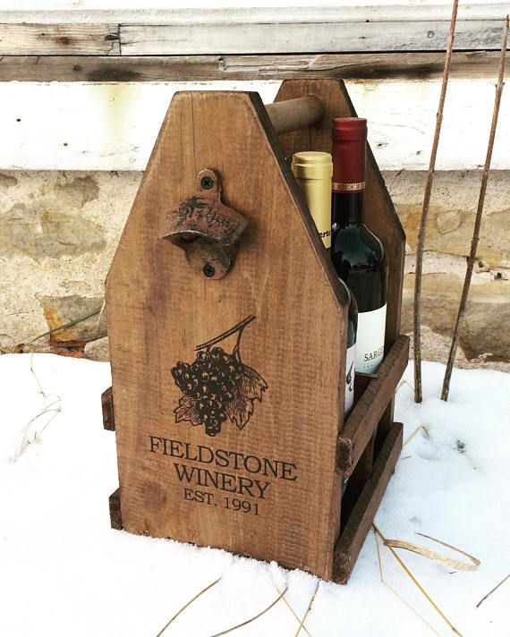 Six Bottle Wooden Wine Carrier, Wine Rack, 750ml 22oz / Home Brew Beer Caddy and Liquor Tote. If you remove the center bottle divider pieces, the carrier will hold other sizes of bottles including two growlers, mason jars, liquor bottles, wide homebrewing bottles etc! Bring cups,