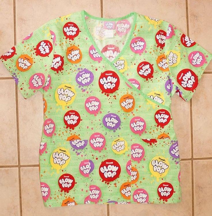 Blow Pop Brand Retro, Bright, Fun Scrub Top hospital scrubs! Size Small #BlowPop