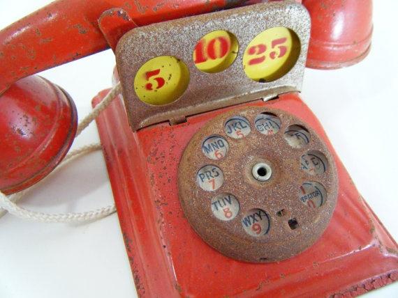 Vintage Toy Telephone Bank