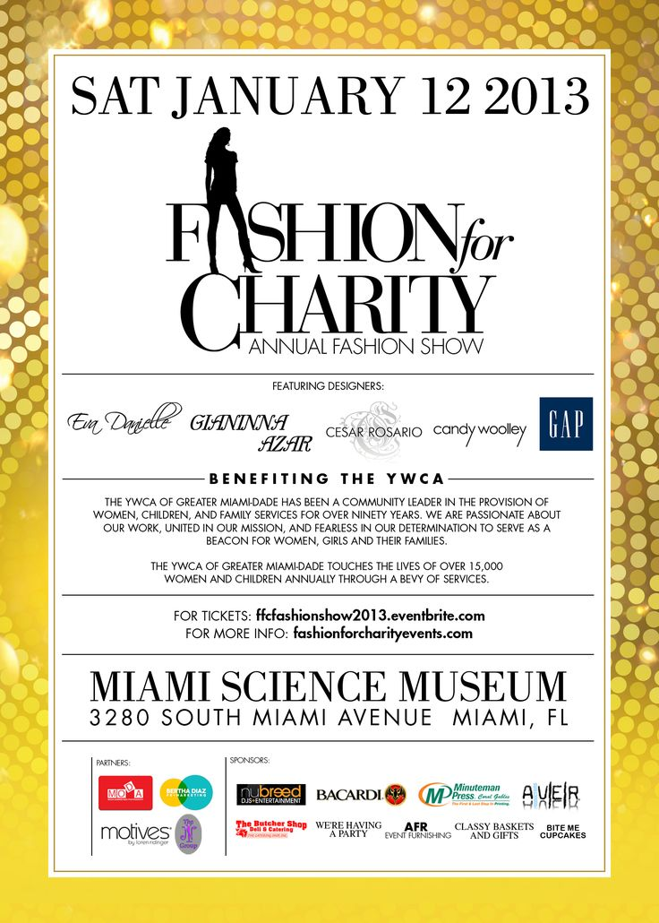 Fashion For Charity Fashion Show Saturday January 12th