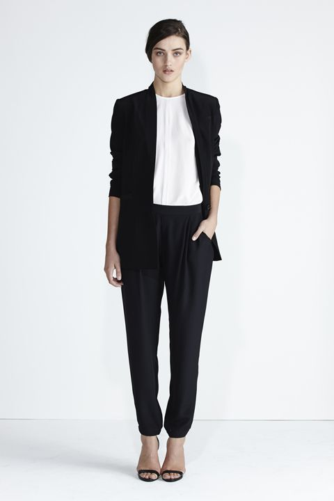Secret South SS 13/14 collection. Driftwood Blazer in Black Silk, Quartz Top in White Silk,  Wildflower Pant in Black Silk.  www.secretsouth.com.au