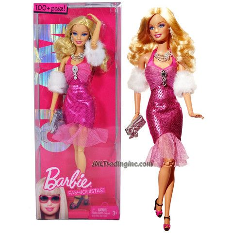 Mattel Year 2009 Barbie Fashionistas Series 12 Inch Doll - Barbie GLAM (R9878) in Pink Neck Strap Party Dress with Faux Fur Arm Wrap, Necklace, Earrings and Purse