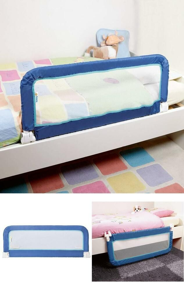 Details About Blue Kids Bed Guard Rail Toddlers Safety Barrier