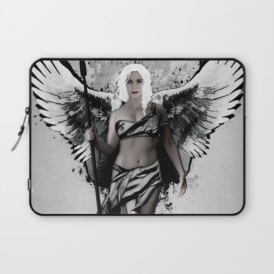 Valkyrja Laptop Sleeve. Digital illustration of a Valkyrie coming down from Valhalla to bring back fallen warriors.  #valkyrie #valkyrja #valkyria #viking #norse #mythology #warrior #oden #odin #valhalla #woman #girl #swan #spear #wings #angel #spatter #laptop #sleeve