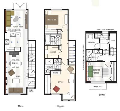 29 best townhouse floor plans images on pinterest floor for Townhouse design plans
