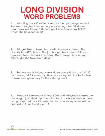 Long Division Word Problems | Mathematics | Long division, Math ...