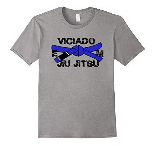 Great shirt for bjj or jiu jitsu blue belts. 'Viciado em Jiu jitsu' is Brazilian Portuguese for 'Jiu jitsu addict'. We have other ranks and BJJ Shirts too....