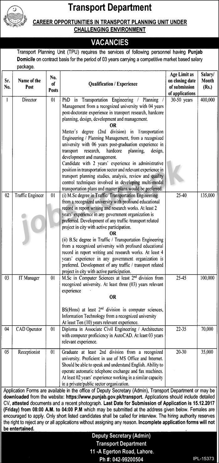 Transport Department Punjab Jobs 2018 for Engineering, IT, Receptionist and Management