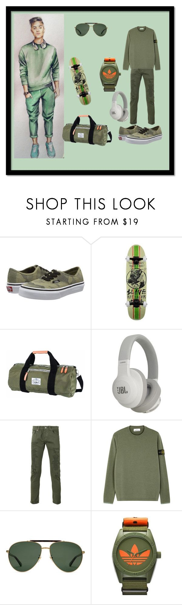 """""""Skate Life"""" by destinystarheaven on Polyvore featuring Vans, Poler, JBL, Dondup, STONE ISLAND, Gucci, adidas, men's fashion and menswear"""