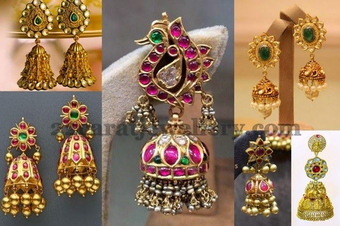 Jewellery Designs: Antique Rubies Jhumkas Collection
