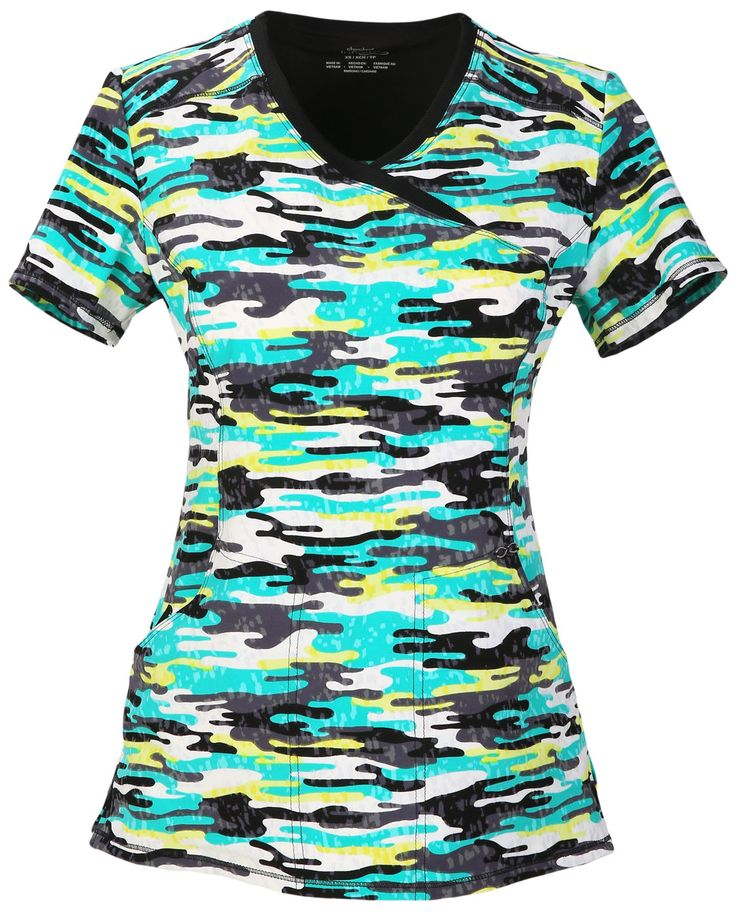 Infinity by Cherokee Antimicrobial Mock Wrap Top in 'Camo Kind Of Love' from Cherokee Scrubs at Cherokee 4 Less