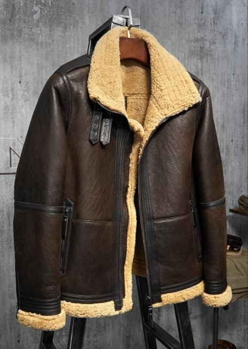 aff0033c07b Men s Shearling Jacket Turmeric Wool B3 Flight Jacket Short Fur Leather  Jacket Australia Wool Mans Sheepskin Aviator Fur Jacket