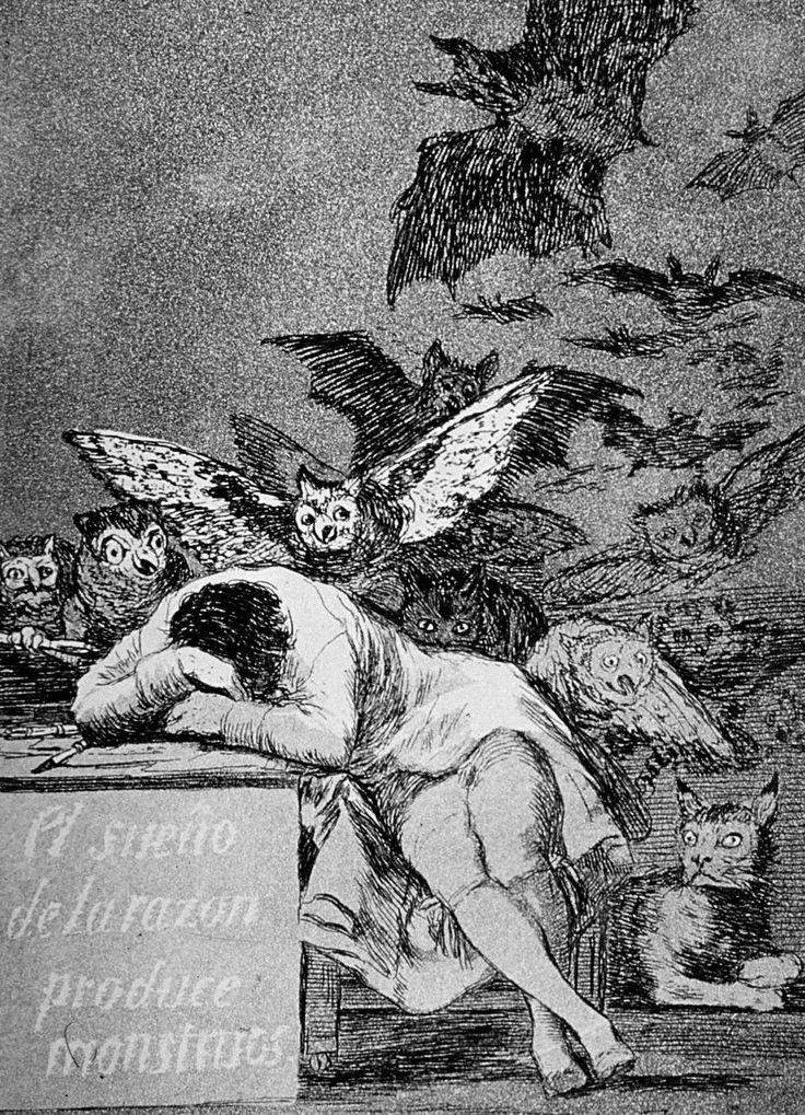 """""""Il sonno della ragione genera mostri"""" 1797  Dimension: 21,6 x 16,2 cm  Biblioteca Nacional de Espana, Madrid"""