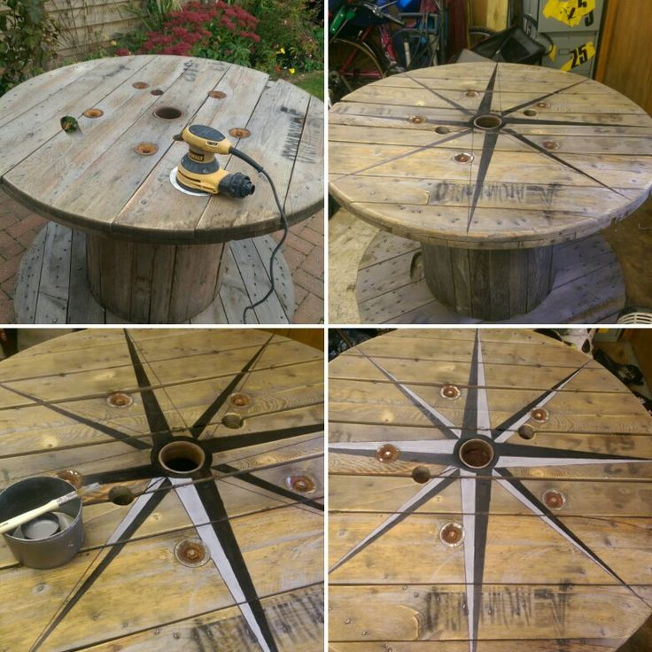 Cable drum table compass
