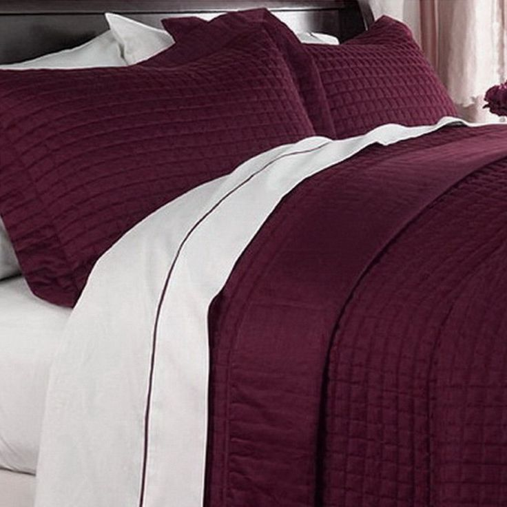 Modern Hotel Style Solid Burgundy Microfiber Quilt Coverlet and Shams Set.  Bedding set features a check pattern for a luxury hotel look.