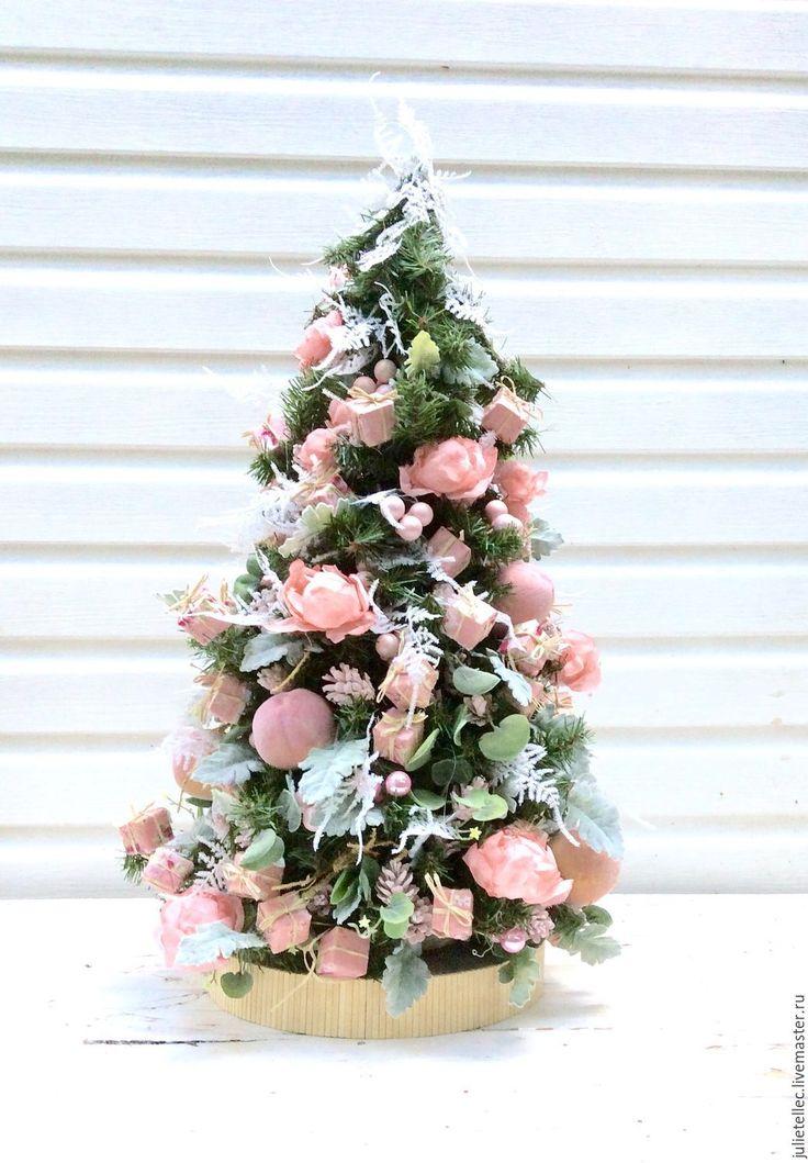Купить Персиковая ель - бледно-розовый, елка, розовый, розы, персики, оригинальная елка, шебби