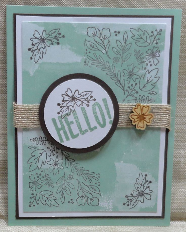 "Made by Sandy (August 2016 Paper Pumpkin): Added Early Espresso & White cardstocks; 1 3/4"" & 2"" circle punches; Mint Macaron stamp pad."