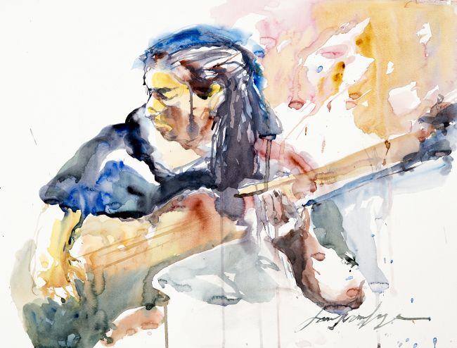 croquis aquarelle guitariste