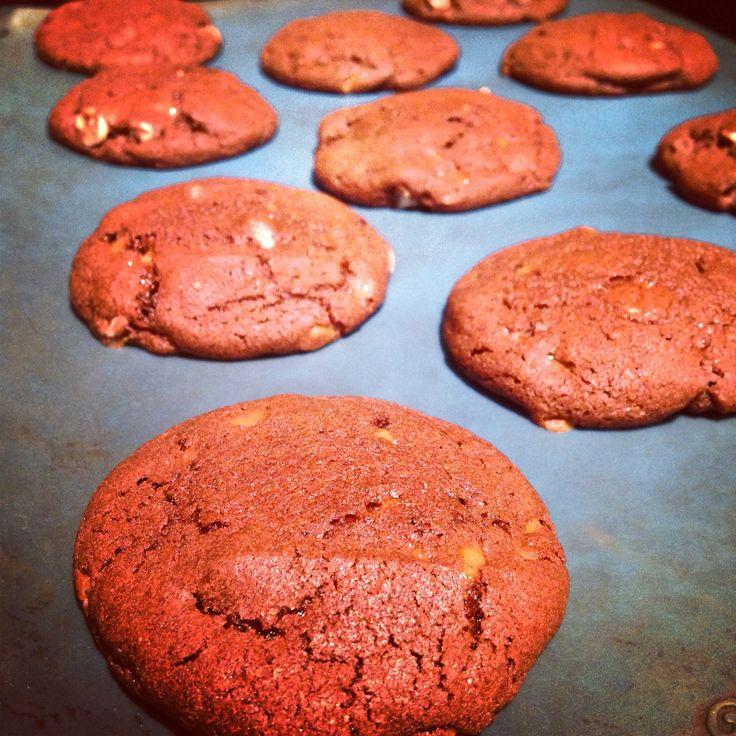 Triple chocolate Skor cookies.
