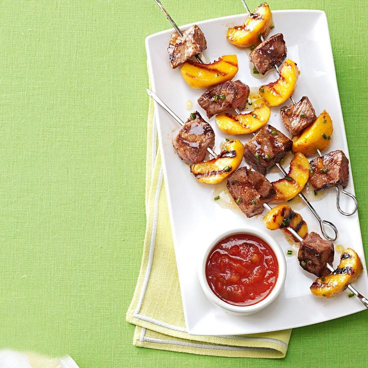 Grilled Sirloin Kabobs with Peach Salsa Recipe -Peaches, peach preserves and peach salsa shine in these beef kabobs with a classic blend of hot and sweet flavors. — Beth Royals, Richmond, Virginia