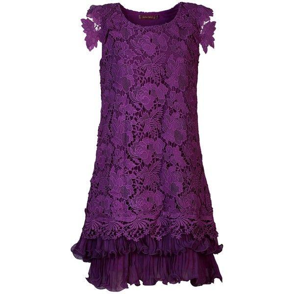 Jolie Moi Crochet lace A-line dress (494.820 IDR) ❤ liked on Polyvore featuring dresses, purple, clearance, tent dress, short sleeve dress, chiffon swing dress, layered chiffon dress and purple swing dress