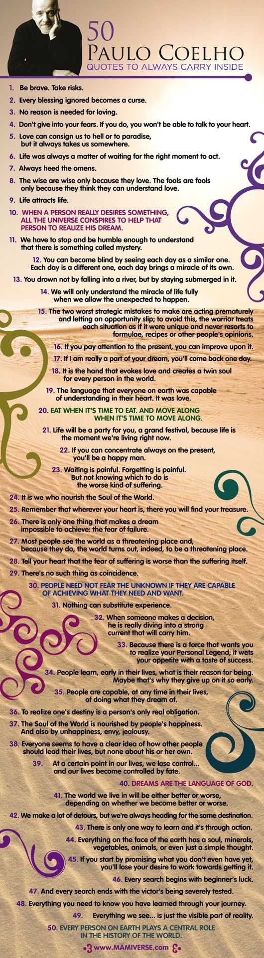 50 Paulo Coelho Quotes for the Soul  {Source: infographicaday.com via John Kremer on Pinterest}