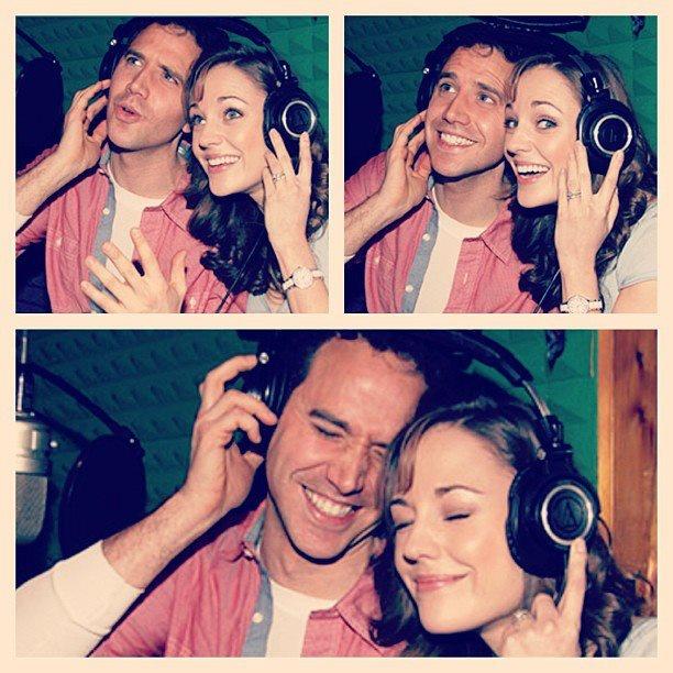 Laura Osnes & Santino Fontana recording the Cinderella cast album