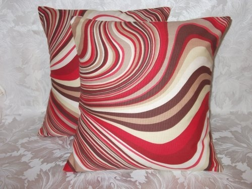 2 x red brown cream taupe swirl cushion covers 16. Black Bedroom Furniture Sets. Home Design Ideas