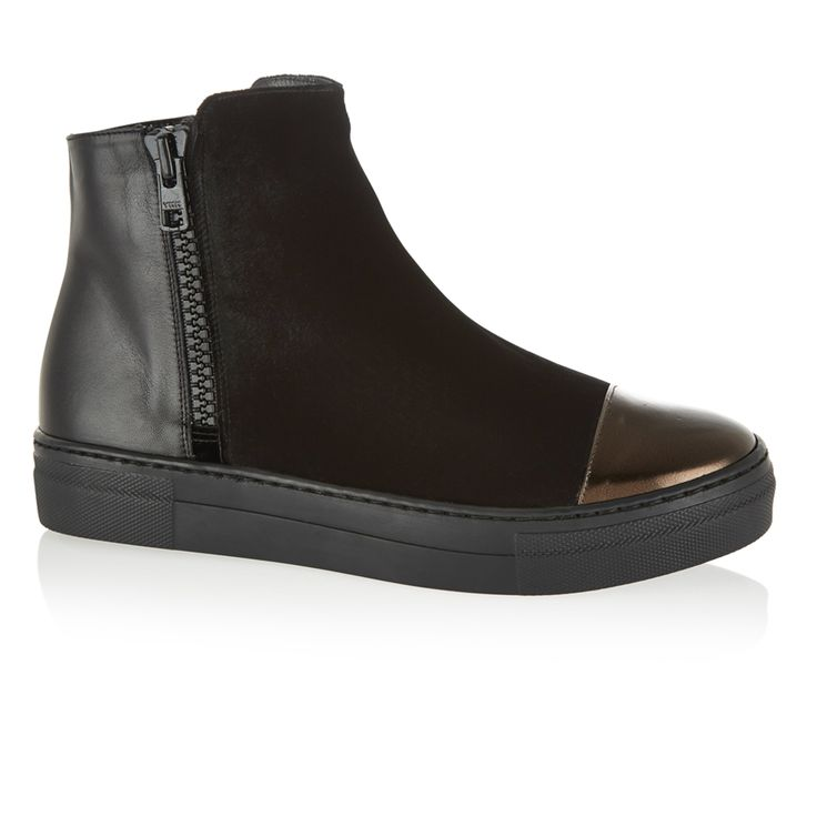 Suede, Leather, Metallic ballet pumps, Urban Ankle Boot Black