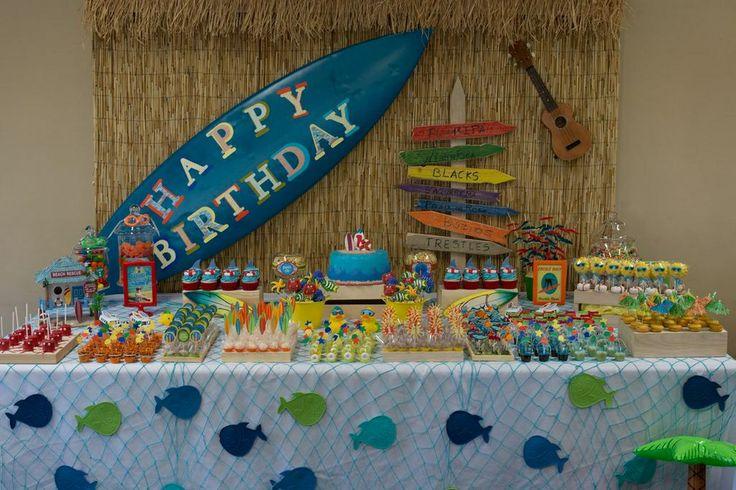 Surf's up first birthday, dessert table, decoration