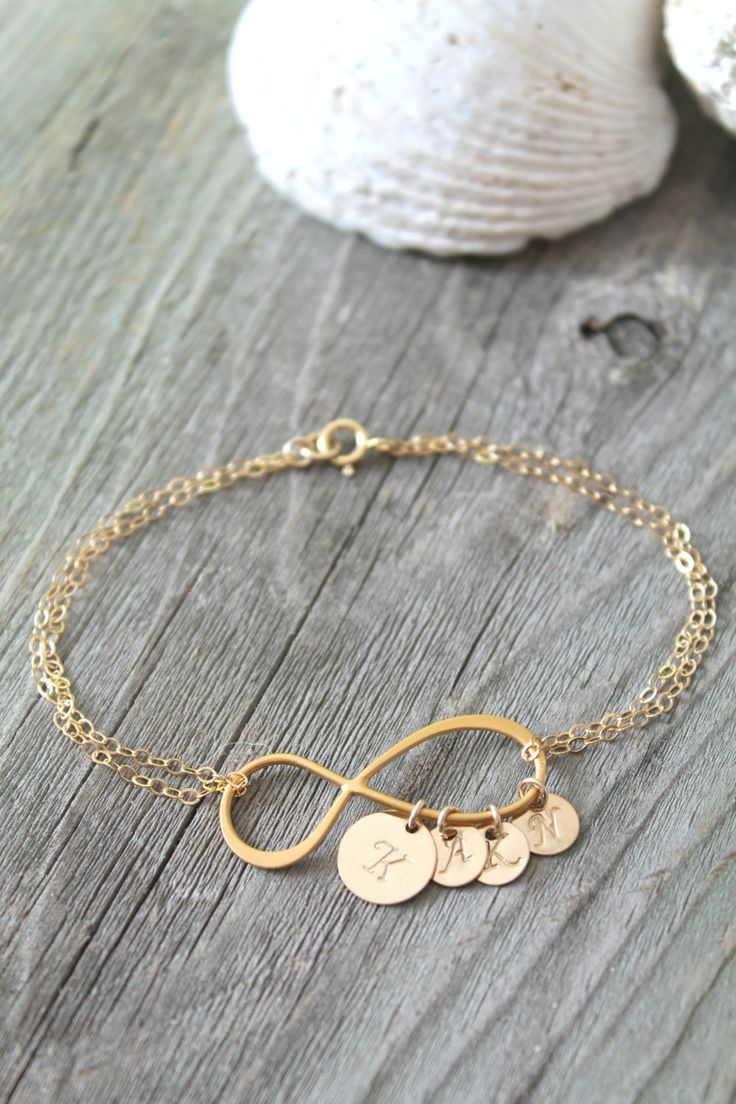 Personalized Mother Mom 14k gold filled Infinity bracelet