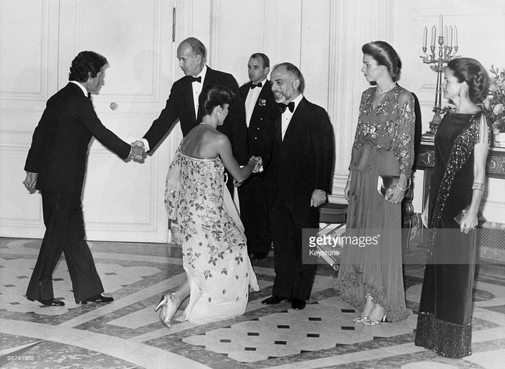 Princess Caroline of Monaco-- King Hussein of Jordan with his wife Queen Noor at a gala reception hosted by French President Valery Giscard d'Estaing at the Grand Trianon, Versailles, Paris, 11th December, 1978. Left to right: Philippe Junot, President Giscard d'Estaing, Princess Caroline of Monaco, King Hussein, Queen Noor and French First Lady Anne-Aymone Giscard d'Estaing.