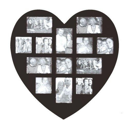 Pêle mêle 13 photos en forme de coeur noir - Les douces nuits de Maé, linge de maison