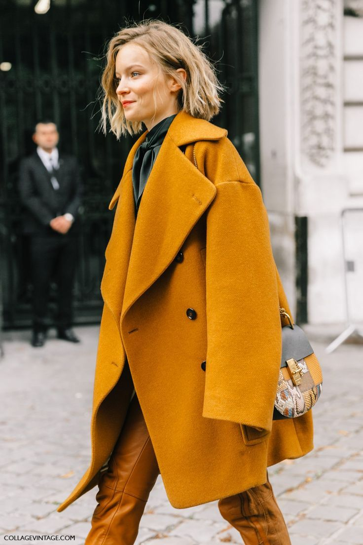 Street Style_ autumn sunshine hits the streets with this beautiful shade of ochre || Saved by Gabby Fincham ||... - Street Style