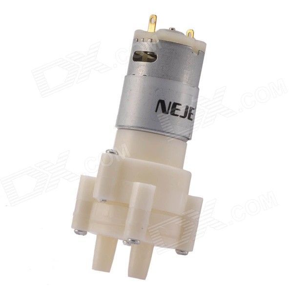 """NEJE R385 DC 12V Pneumatic Diaphragm Water Pump Motor - Silver + White. It can used for water or air specifications: Working voltage: DC 6~12V; Working current: 0.5~0.7A; Flow: 1.5~2L/Min; Suction: 2m; Pump head: 3m(maximum); Life span: 2500H(maximum); When the voltage is 6V, the power is 6W/H; Size: approx. 10 x 3.5cm/3.94 x 1.37""""(L x D). Tags: #Electrical #Tools #Arduino #SCM #Supplies #Motors"""