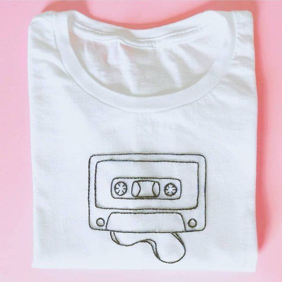 "Hand-embroidered white T-Shirt ""Audio Cassette"" – # …"
