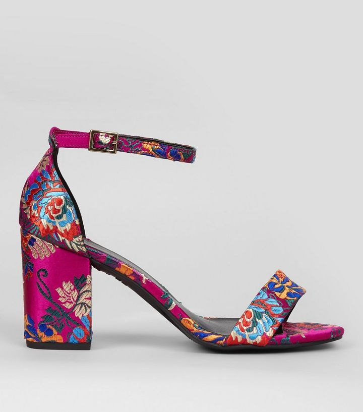 Wide Fit - Sandales à talons en brocart rose à motif floral | New Look