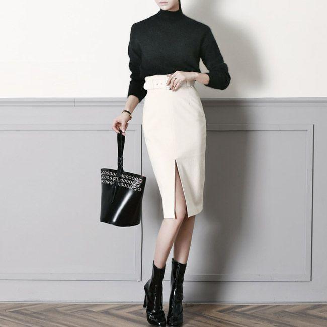 SK1236 Front vent Slim Pencil Skirt (Beltset)