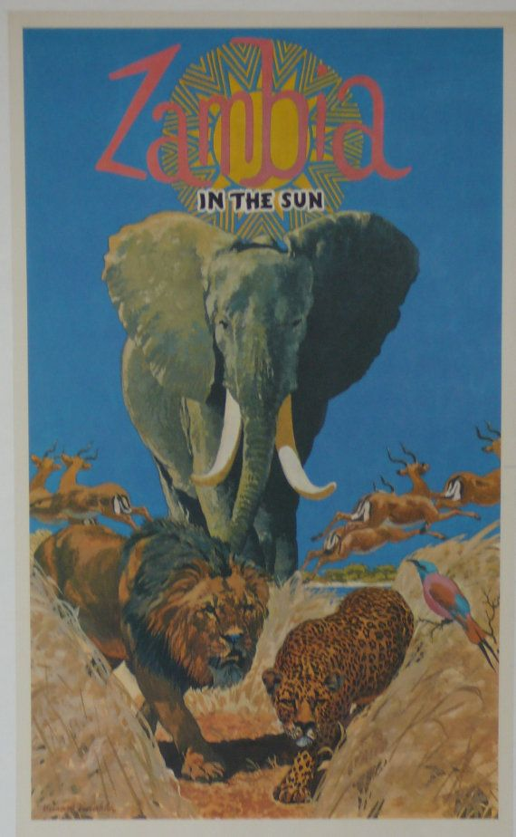 Original Vintage Zambia Travel Poster by HodesH