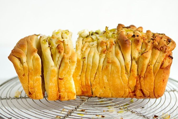 Cheesy Green Garlic Pull-Apart Bread