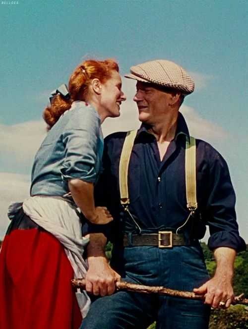 """John Wayne and Maureen O'Hara   """"The Quiet Man"""". 1952.  Maureen O'Hara 1920 - 2015 The famous red-haired Irish beauty was raised in a devout Catholic home (had a sister who was a nun). Discovered for films by Charles Laughton, O'Hara then came to the U.S. for a long and illustrious film career. Her best films usually had her paired with John Wayne. Was a practicing Catholic all her life and spoke often of her Catholic faith. Received an honorary Oscar in 2014"""